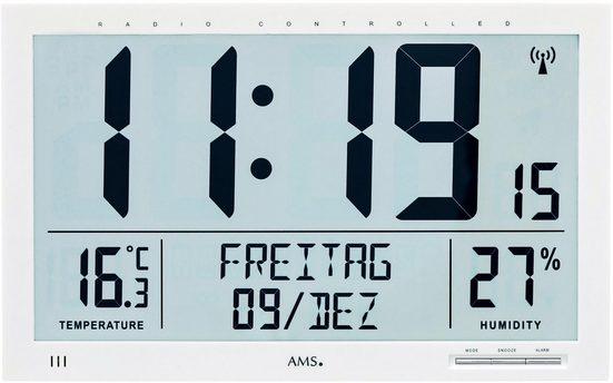 AMS Funkwanduhr »F5887« (mit Alarm)