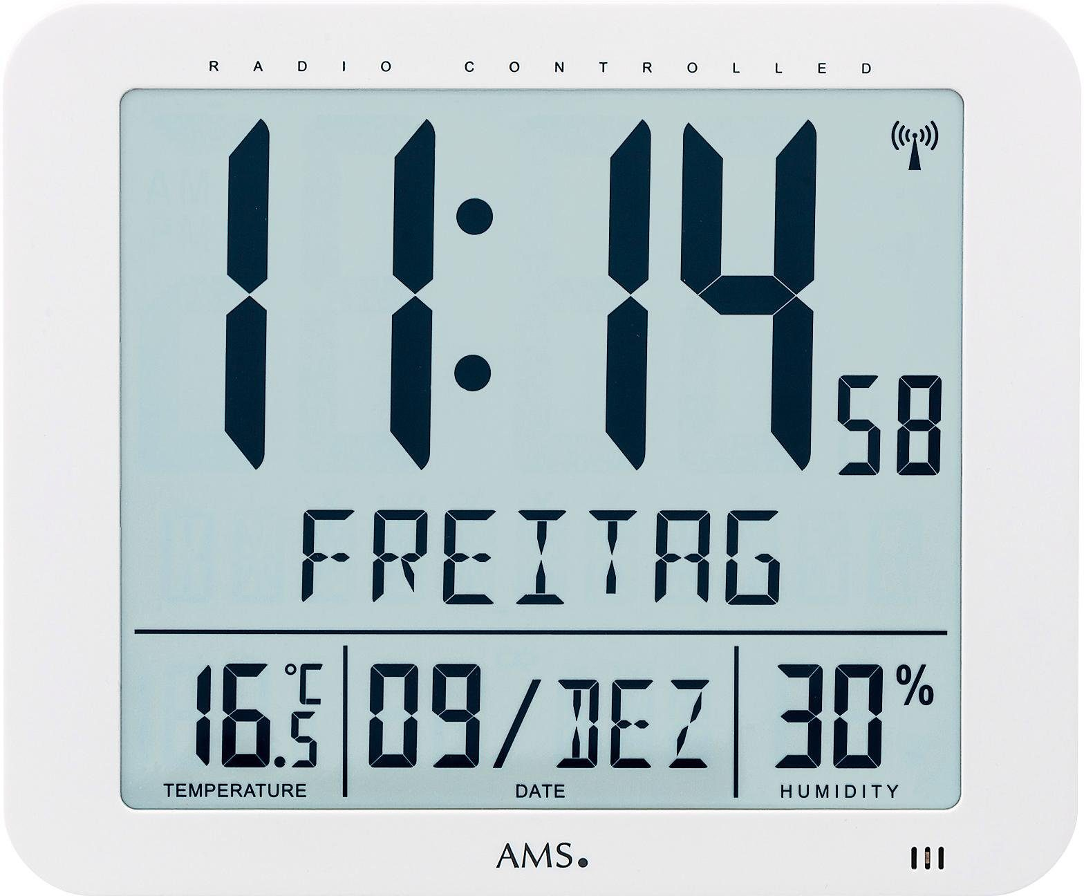 AMS Funkwanduhr »F5886« (mit Alarm)