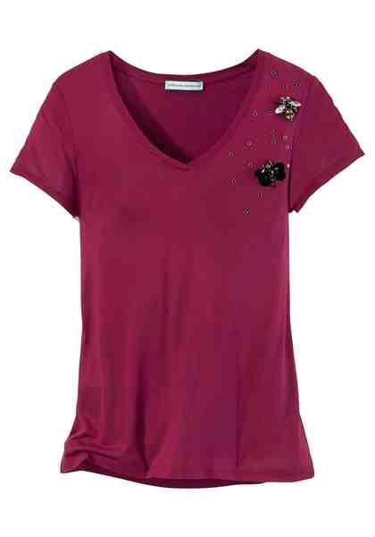 GUIDO MARIA KRETSCHMER V-Shirt mit Ziersteinbesatz in Bienen- und Schmetterlingsform