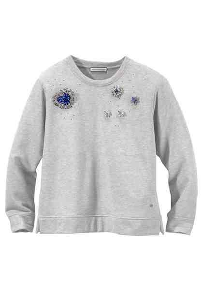 GUIDO MARIA KRETSCHMER Sweatshirt in Glitzeroptik mit Nieten- und Broschendetails