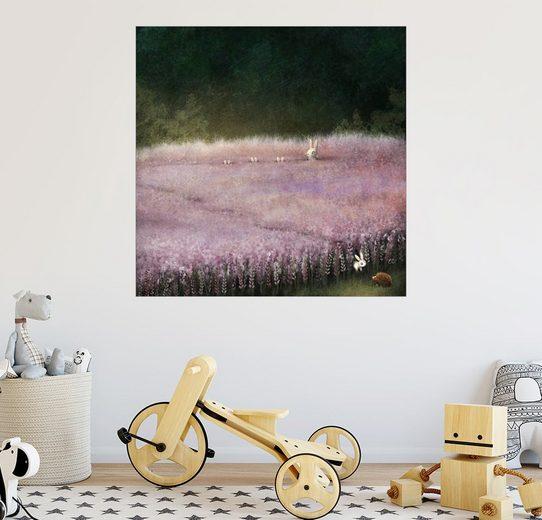 Posterlounge Wandbild - Emma Chadwick »Hase und Igel im Heidefeld«