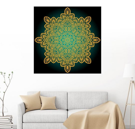 Posterlounge Wandbild »Mandala goldenes Gitter«