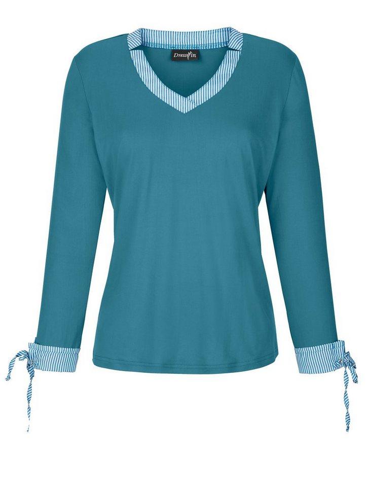 Dress In 2-in-1 Shirt in aktueller Ausschnittlösung | Bekleidung > Shirts > 2-in-1 Shirts | Grün | Polyester - Elasthan | Dress In