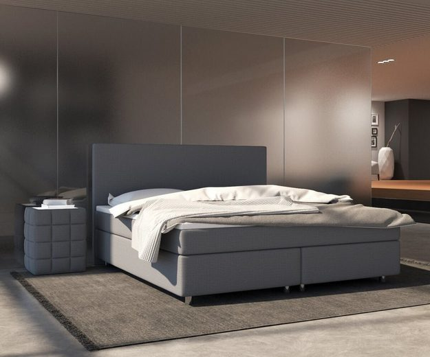 delife boxspringbett cloud grau 180x200 cm federkern online kaufen otto. Black Bedroom Furniture Sets. Home Design Ideas