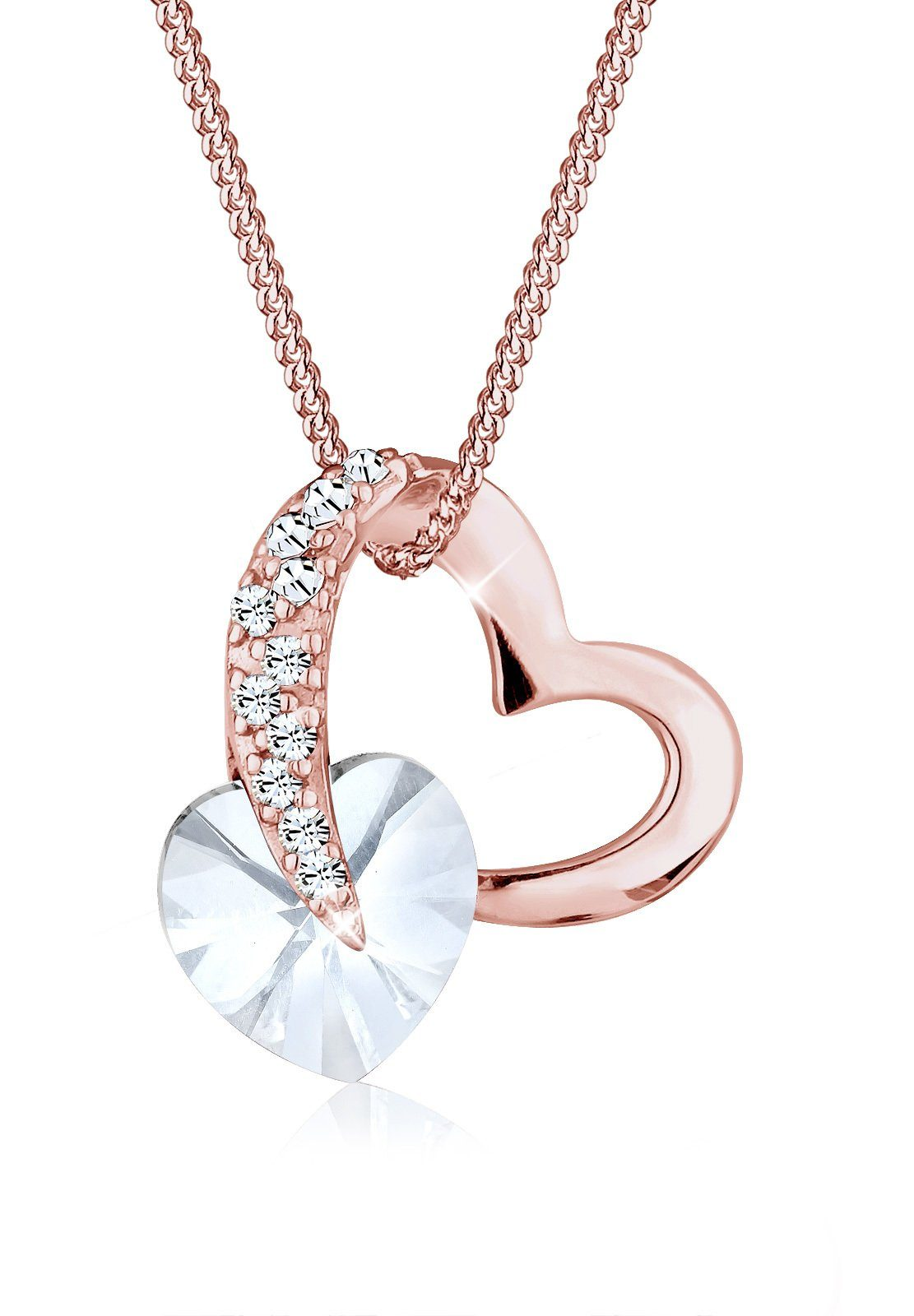Elli Collierkettchen »Herz Liebe Swarovski® Kristalle 925 Silber«