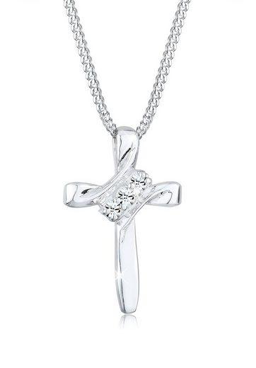 Elli Collierkettchen »Kreuz Modern mit Swarovski® Kristalle 925 Silber«