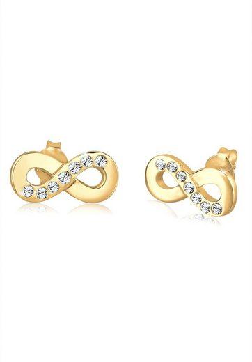 Elli Paar Ohrstecker »Infinity Symbol Liebe Kristalle Silber«