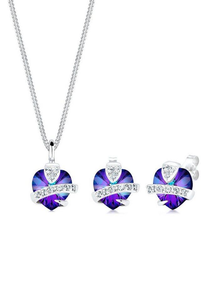 Elli Schmuckset »Herz Glamourös Swarovski® Kristalle 925 Silber« | Schmuck > Schmucksets | Lila | Elli