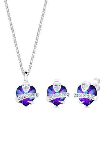 Elli Schmuckset »Herz Glamourös Kristalle 925 Silber«