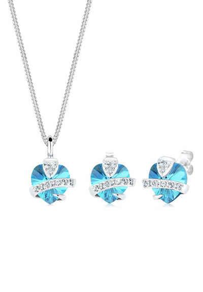 Elli Schmuckset »Set  Herz Glamourös Swarovski® Kristalle 925 Silber« (Set, 565b60e2b5