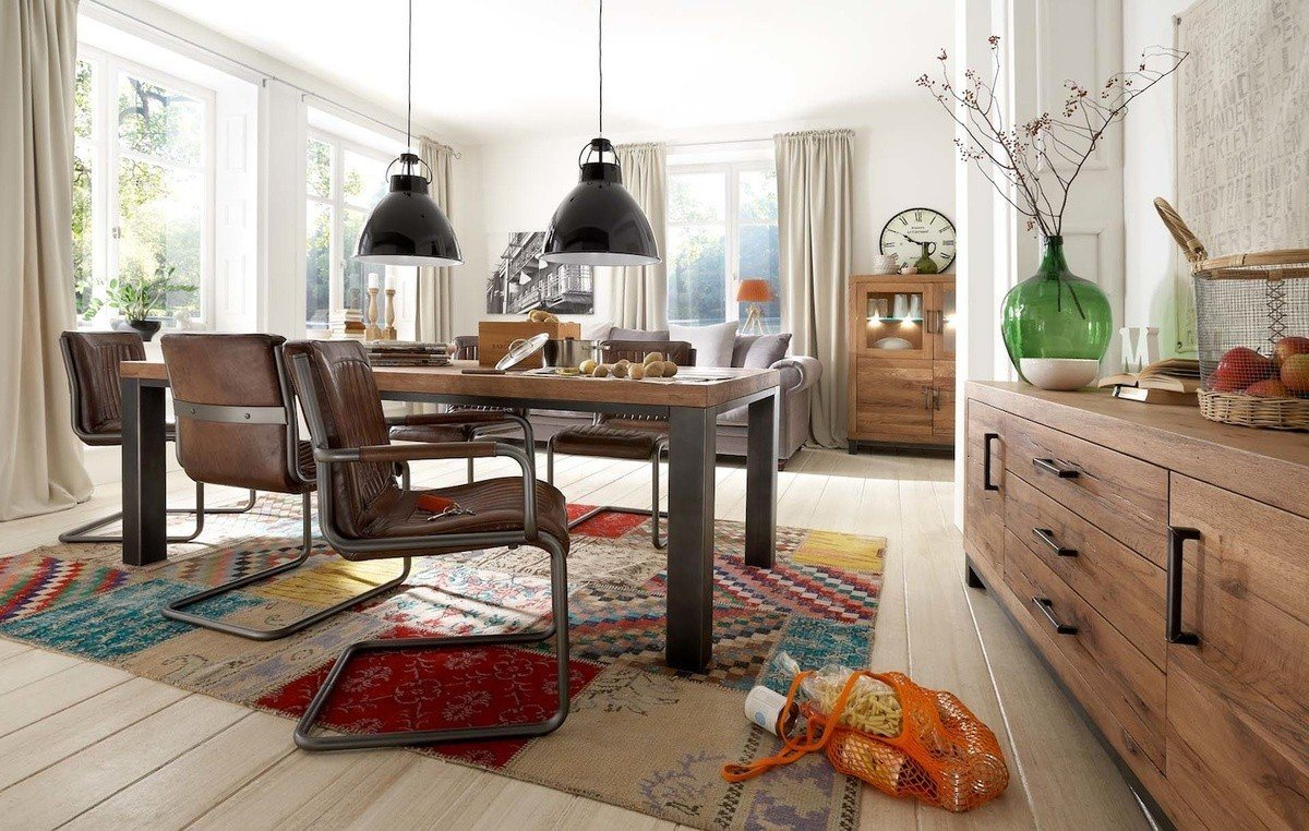 Kasper-Wohndesign Essgruppe Massivholz Tisch und Echtlederstühlen »Sazar Nela« | Küche und Esszimmer > Stühle und Hocker > Esszimmerstühle | Massivholz - Metall - Massiv - Eichenholz - Eisen - Echtleder | Kasper-Wohndesign