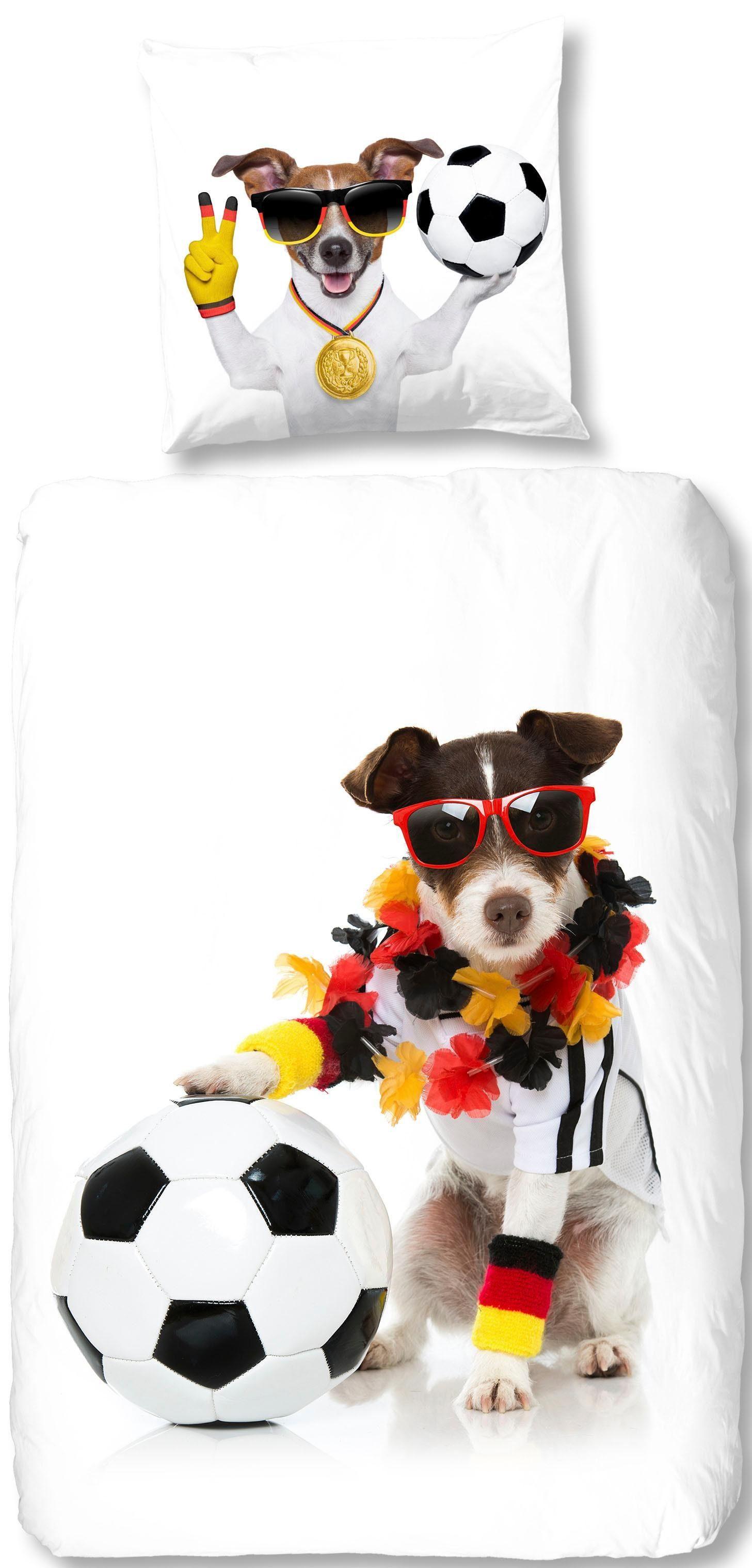 Bettwäsche »Soccer Dog«, good morning, im WM Outfit