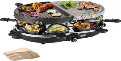 PRINCESS Raclette 8 Oval Stone & Grill Party - 162710, 8 Raclettepfännchen, 1200 W