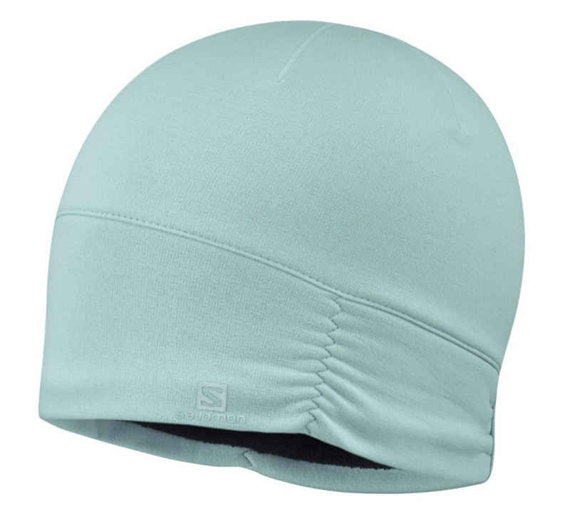 Salomon Strickmütze »Salomon Elevate Warm Beanie praktische Damen Mütze mit eingearbeitetem Schweißband Kopfbedeckung Hellblau«