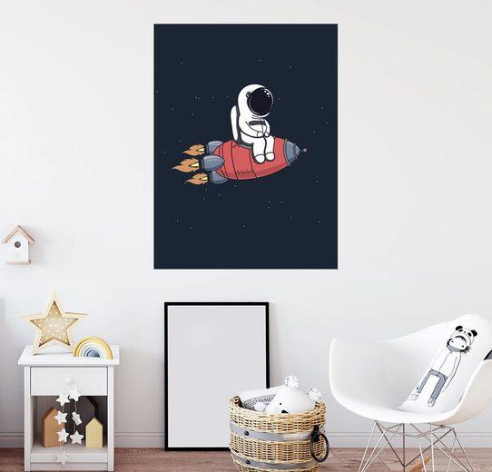 Posterlounge Wandbild - Kidz Collection »Kleiner Astronaut mit Rakete«