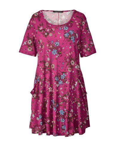 Sara Lindholm by Happy Size Jersey-Tunika mit Blumen-Print