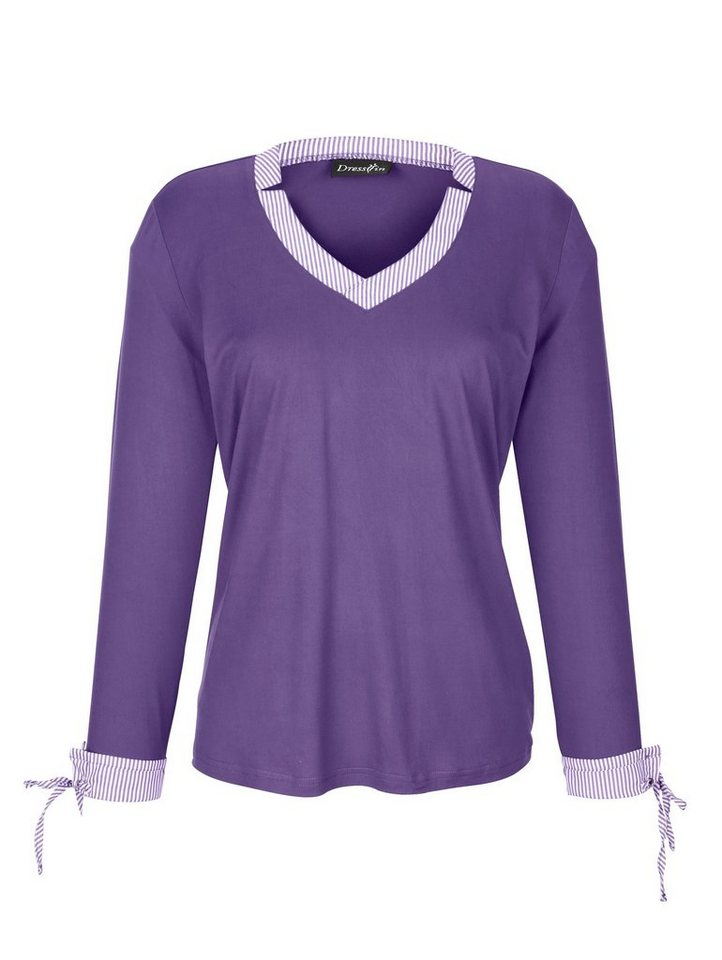 Dress In 2-in-1 Shirt in aktueller Ausschnittlösung | Bekleidung > Shirts > 2-in-1 Shirts | Lila | Polyester - Elasthan | Dress In