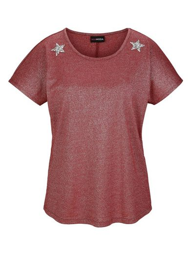 MIAMODA Shirt mit Sternenapplikationen aus Dekosteinen