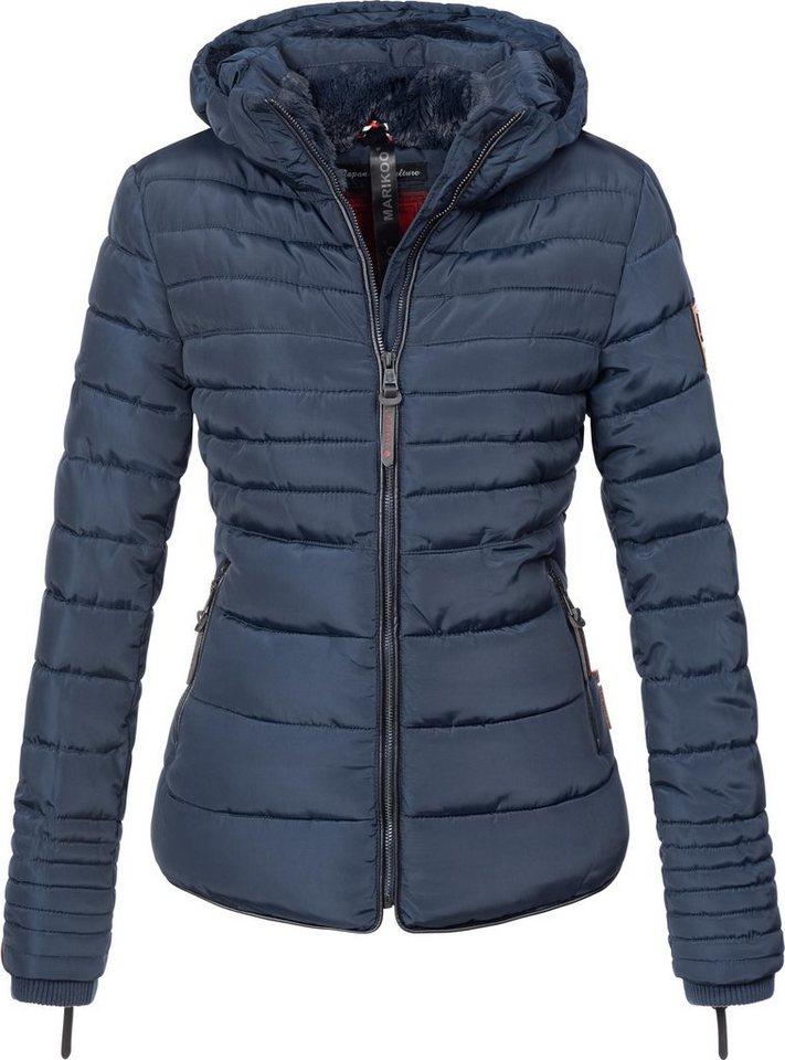 f40ffd0017d2c9 Damen Marikoo Steppjacke Amber stylische Winterjacke mit Stehkragen blau    04059072002661