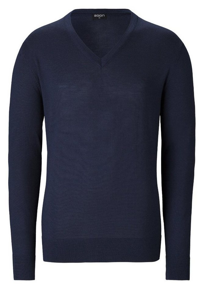 agon® V-Pullover mit Total-Easy-Care-Behandlung | Bekleidung > Pullover > V-Pullover | Blau | Wolle | agon®