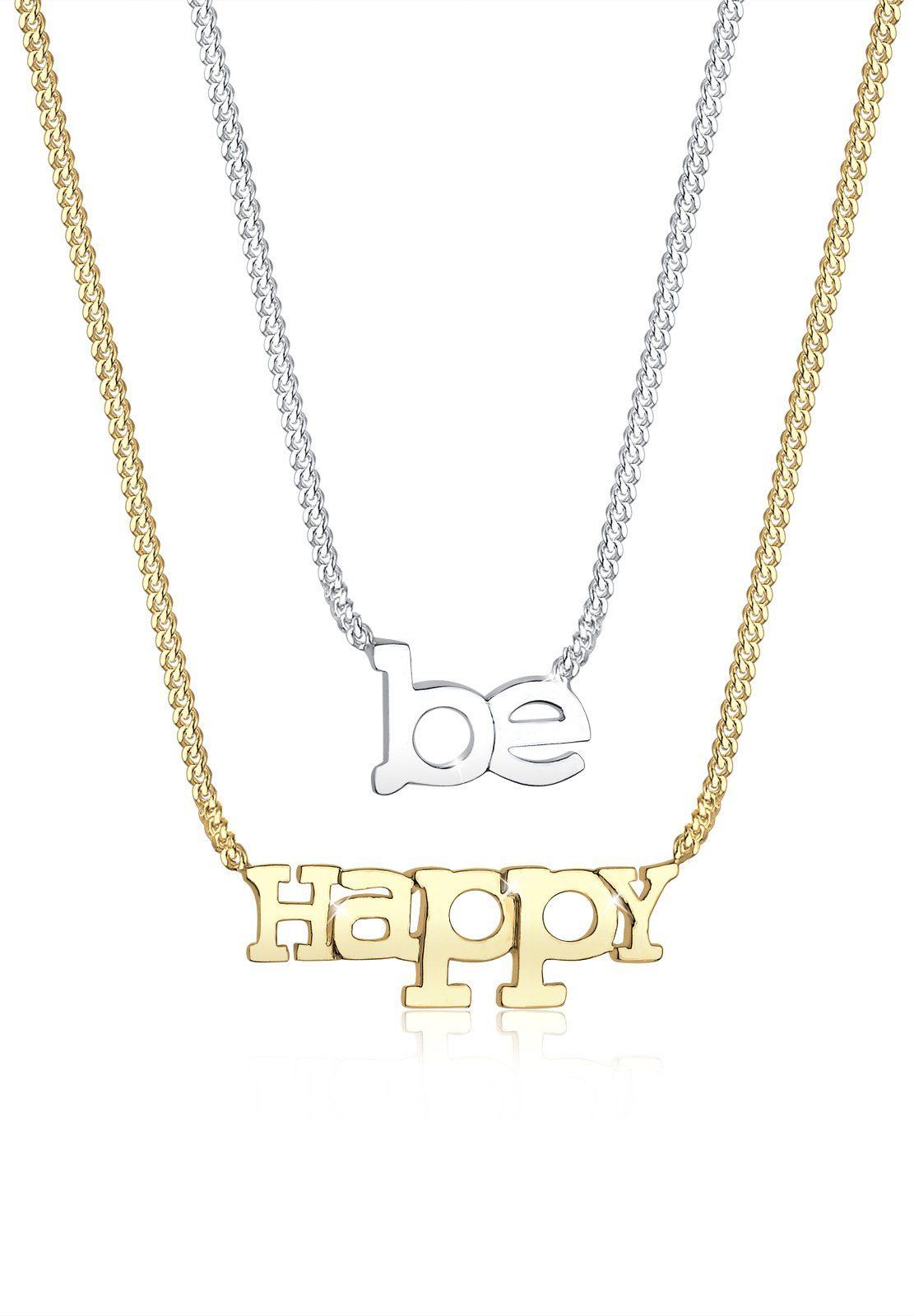 Elli Ketten-Set »Set: BE HAPPY-Schriftzug bicolor 925 Sterling Silber« (Set, 2 tlg)