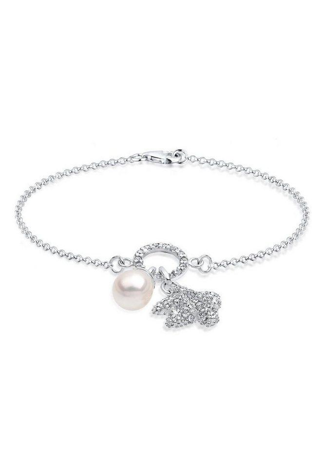 Elli Perlenarmband »Sterling Silber Swarovski Kristalle Seestern Perle«   Schmuck > Armbänder > Silberarmbänder   Weiß   Elli