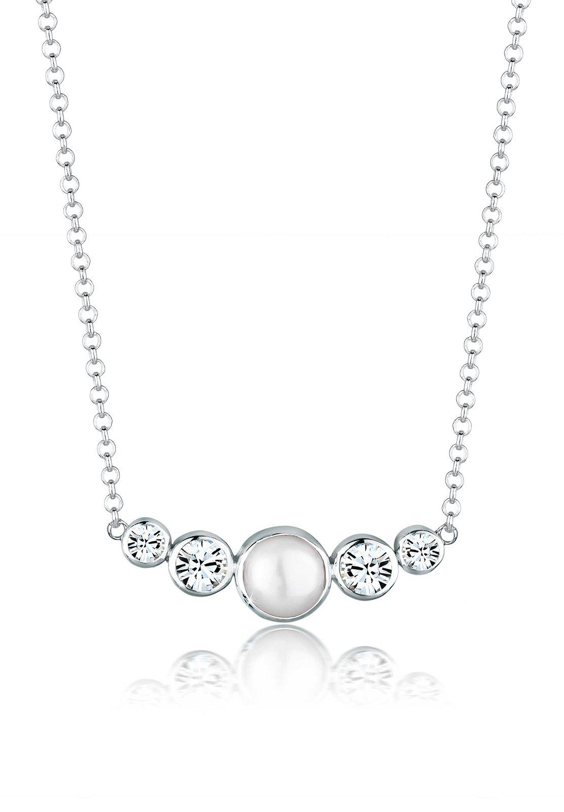 Elli Perlenkette »Süßwasserperle Swarovski® Kristalle 925 Silber«