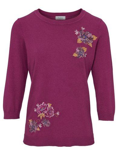 heine TIMELESS Pullover mit Blumen-Stickerei