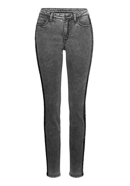 Hosen - Aniston CASUAL Skinny fit Jeans mit seitlichem Pailletten Streifen › schwarz  - Onlineshop OTTO