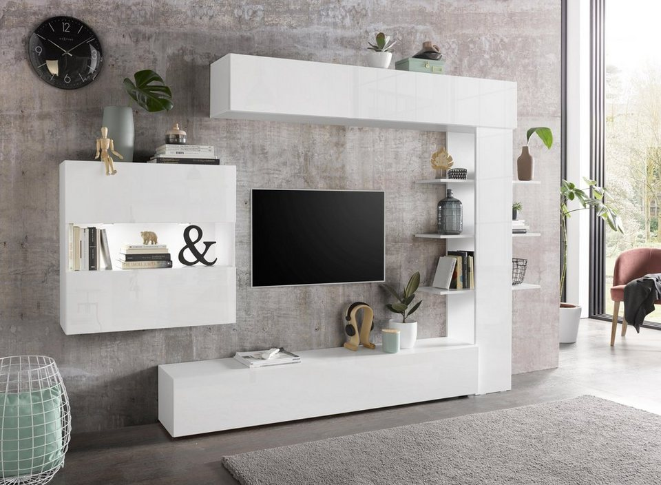 lc tv wand sorano mit h ngeschrank 4 tlg otto. Black Bedroom Furniture Sets. Home Design Ideas
