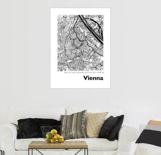 Posterlounge Wandbild - 44spaces »VIENNA STADTPLAN HF«