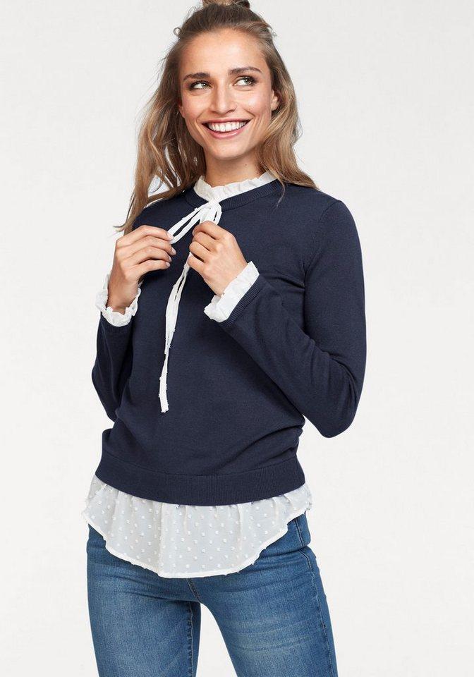 Aniston by BAUR 2-in-1-Pullover mit Blusen-Einsatz | Bekleidung > Pullover > 2-in-1 Pullover | Blau | Aniston by BAUR