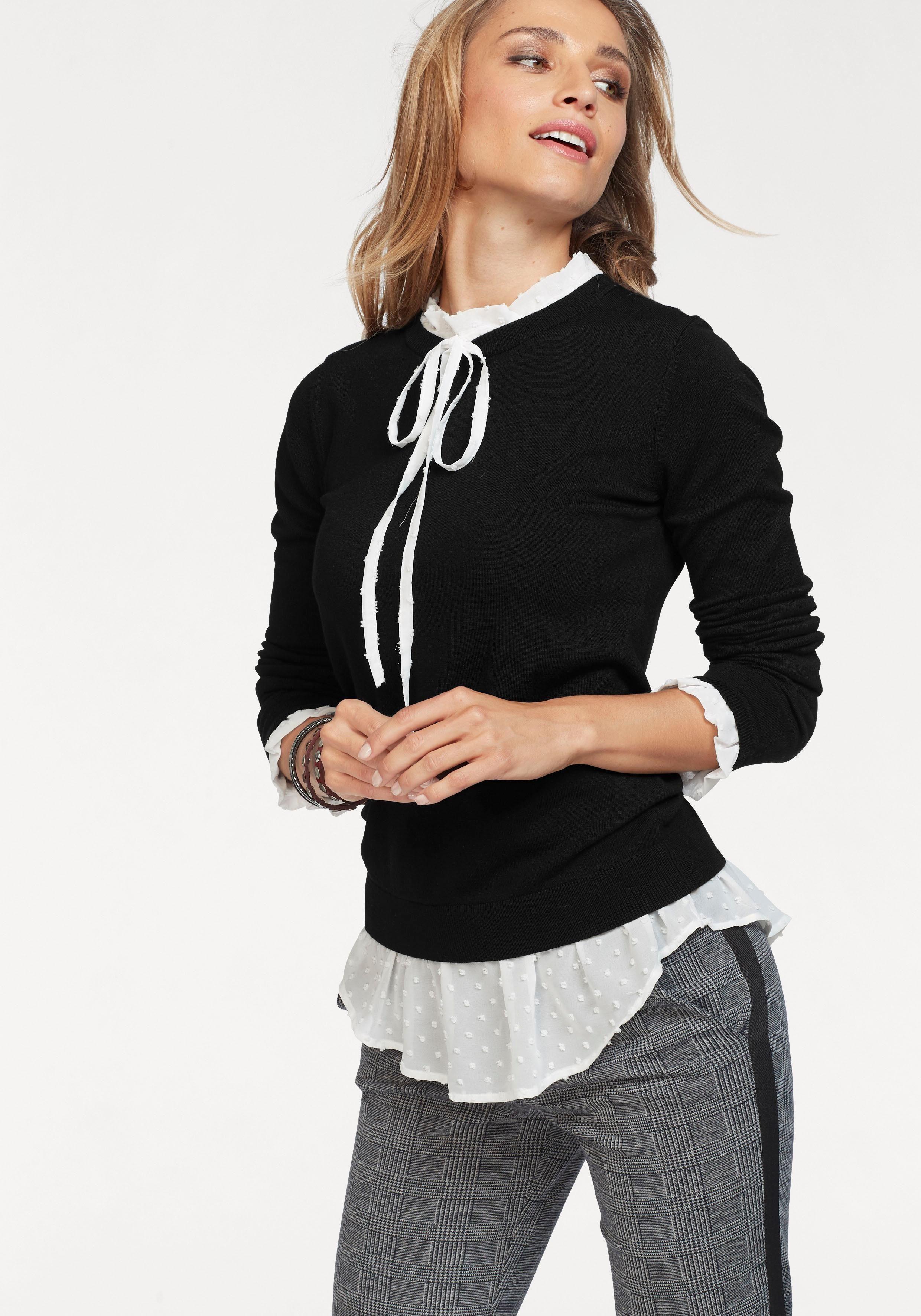 Aniston CASUAL 2 in 1 Pullover mit Blusen Einsatz | OTTO