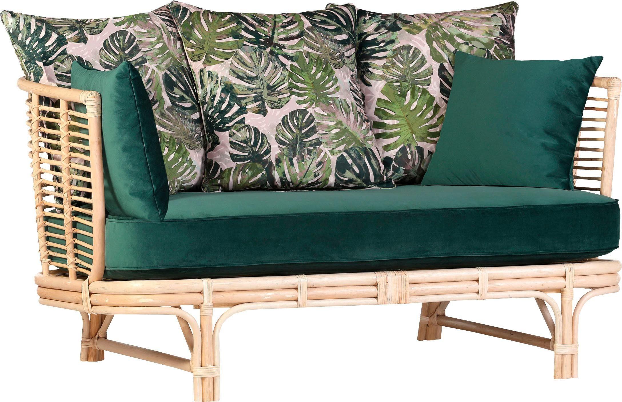 Gutmann Factory Rattansofa, mit Sitz- und Rückenkissen, Rattanrohr gebeizt und lackiert