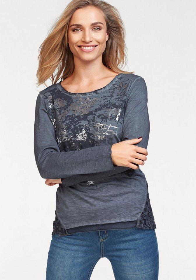 Damen Aniston by BAUR Langarmshirt mit Spitzeneinsatz blau   08699050282225