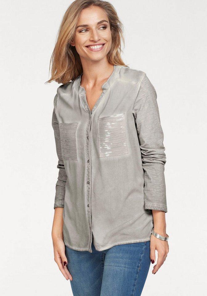 Damen Aniston by BAUR Longbluse mit Oil dyed-Waschung grau   08698700188634