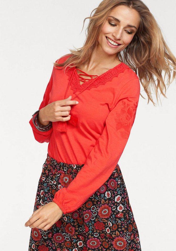 Damen Aniston by BAUR Langarmshirt mit Spitze und Stickerei rot   08907208024109