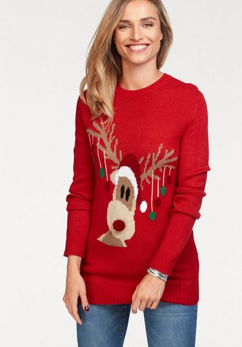 Damen Aniston by BAUR Rundhalspullover mit Rentiermotiv – NEUE KOLLEKTION rot | 08941101559368