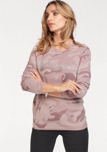 Aniston CASUAL Rundhalspullover mit Glitzersteinchen