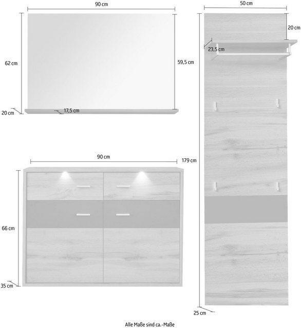Garderoben Sets - trendteam Garderoben Set »Coast«, (Set, 3 St)  - Onlineshop OTTO