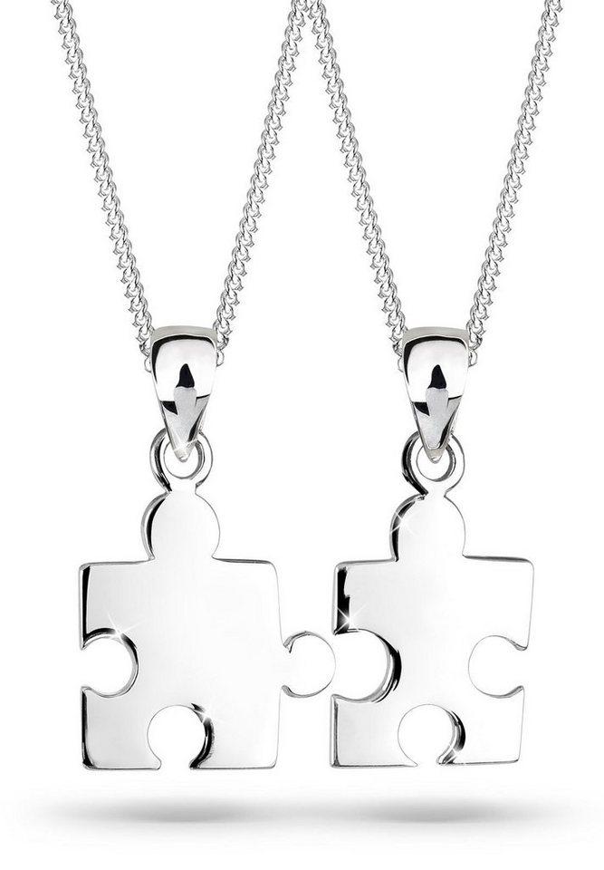 Elli Ketten-Set »Set: Partnerketten Puzzle 925 Sterling Silber« (Set, 2 tlg) | Schmuck > Halsketten > Partnerketten | Elli