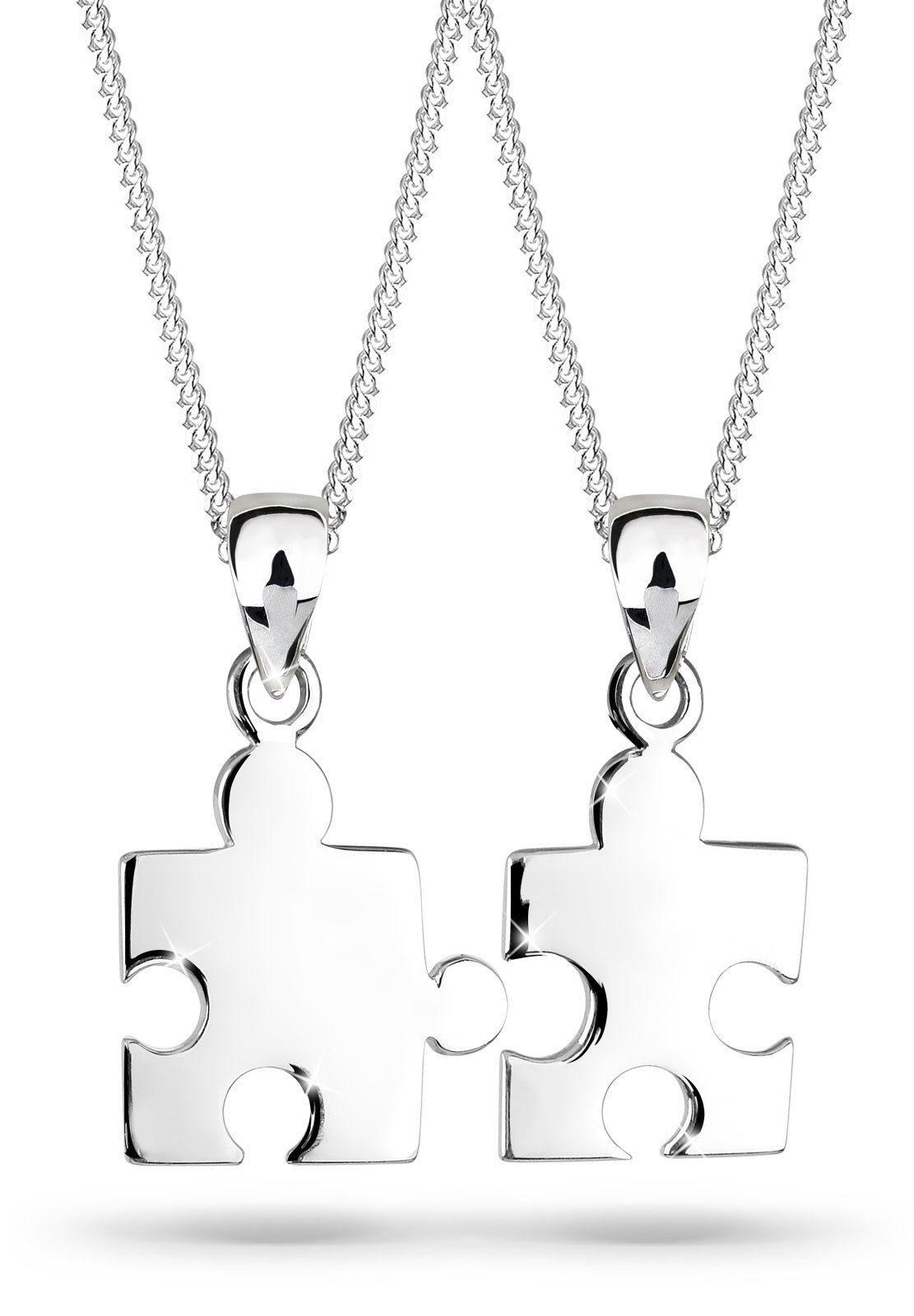 Elli Ketten-Set »Set: Partnerketten Puzzle 925 Sterling Silber« (Set, 2 tlg)