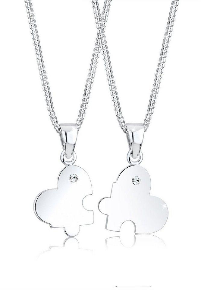 Elli Ketten-Set »Partnerkette Swarovski® Kristalle 925 Silber« | Schmuck > Halsketten > Partnerketten | Weiß | Elli
