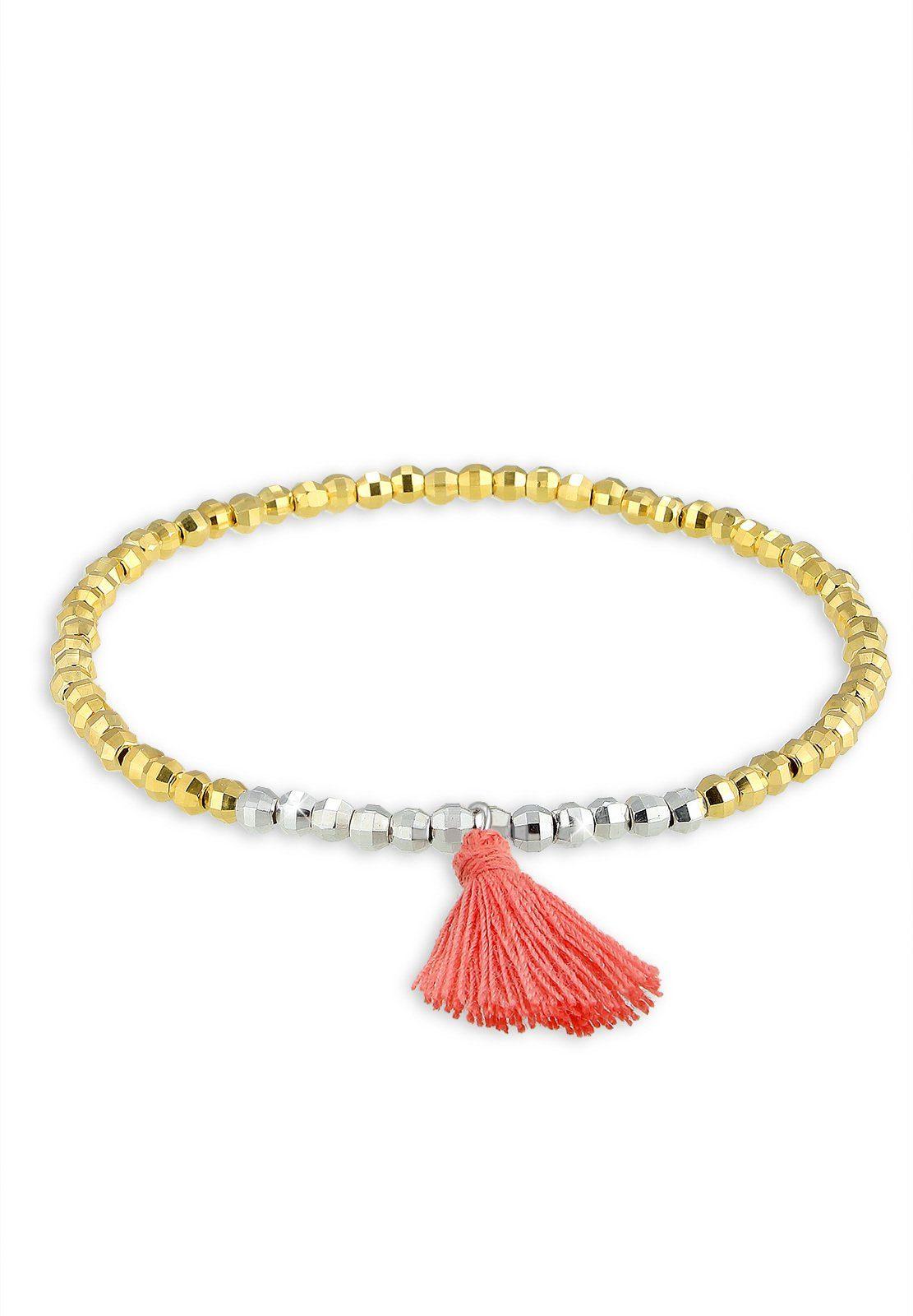 Elli Armband »Beads Tassel Bi-Color 925 Sterling Silber«