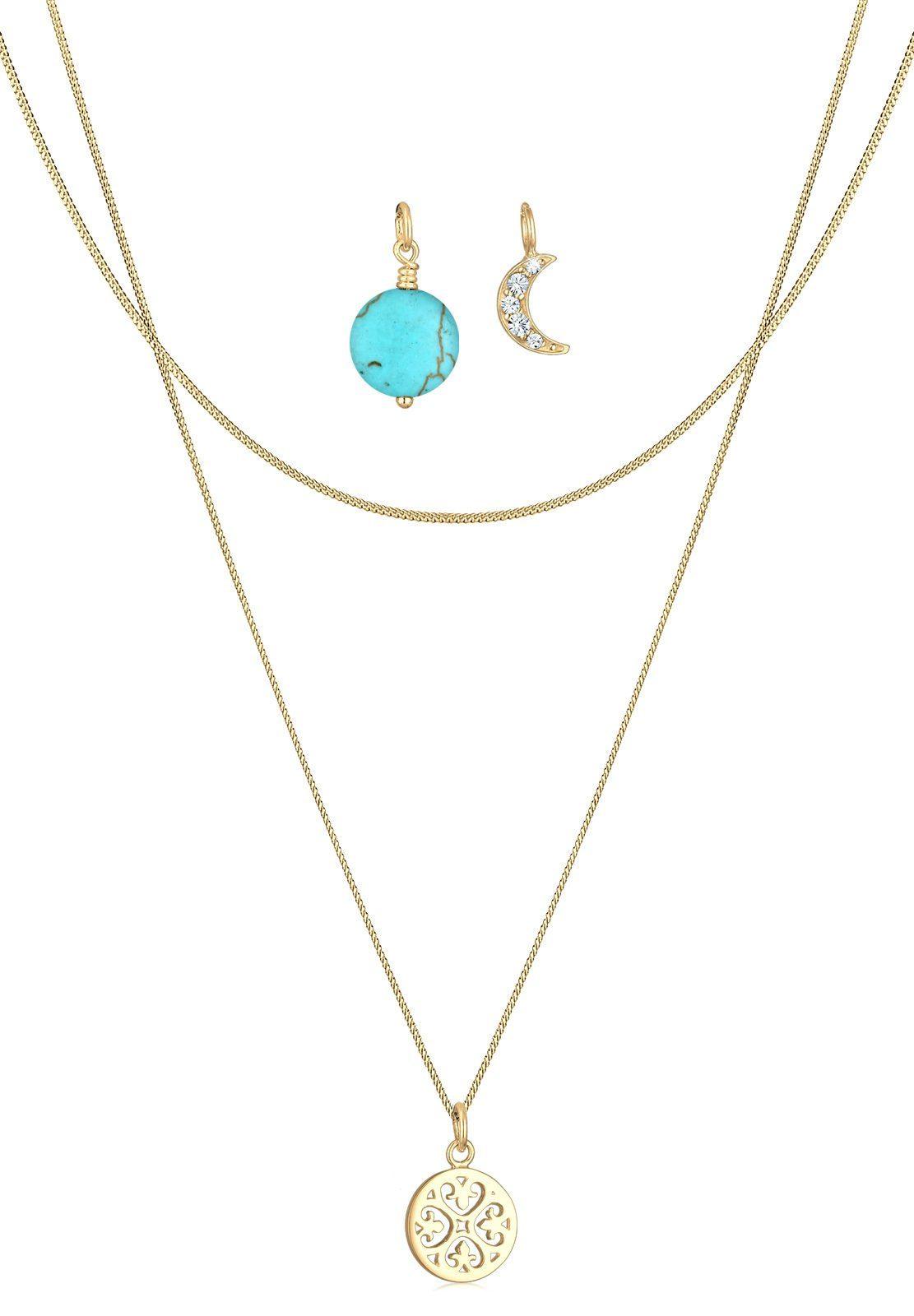 Elli Collierkettchen »Halbmond Ornament Swarovski® Kristalle Silber«
