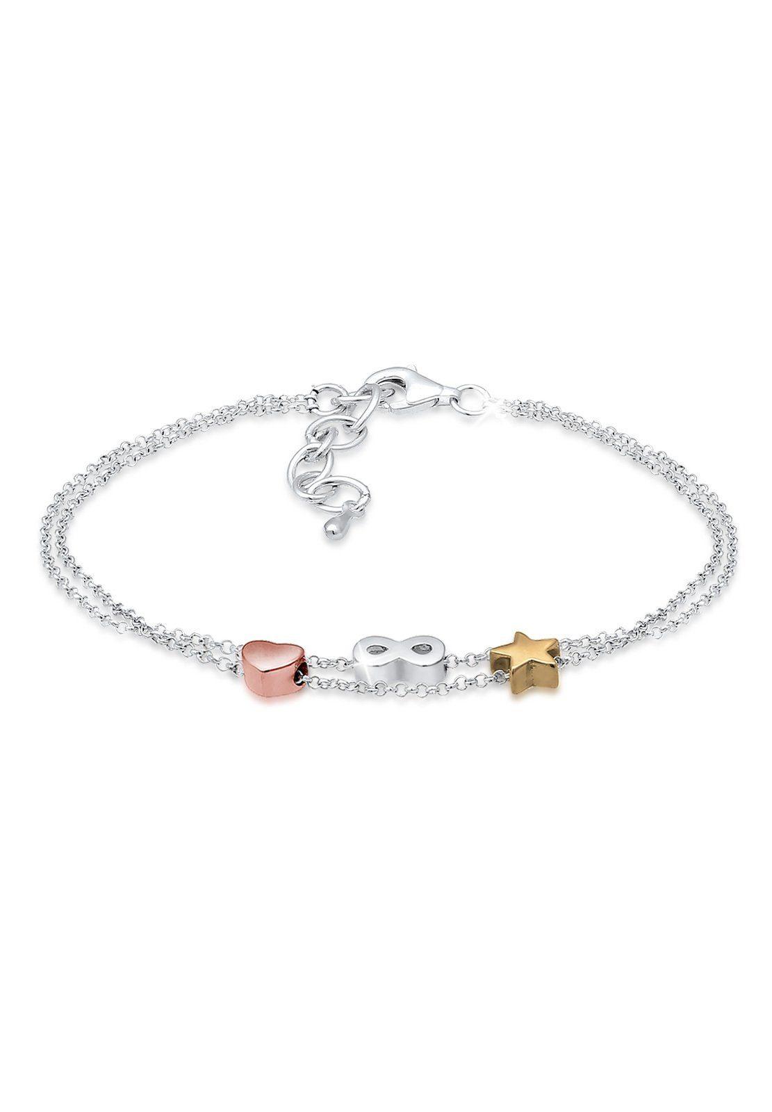 Elli Armband »Infinity Herz Sterne Tri-Color 925 Silber«