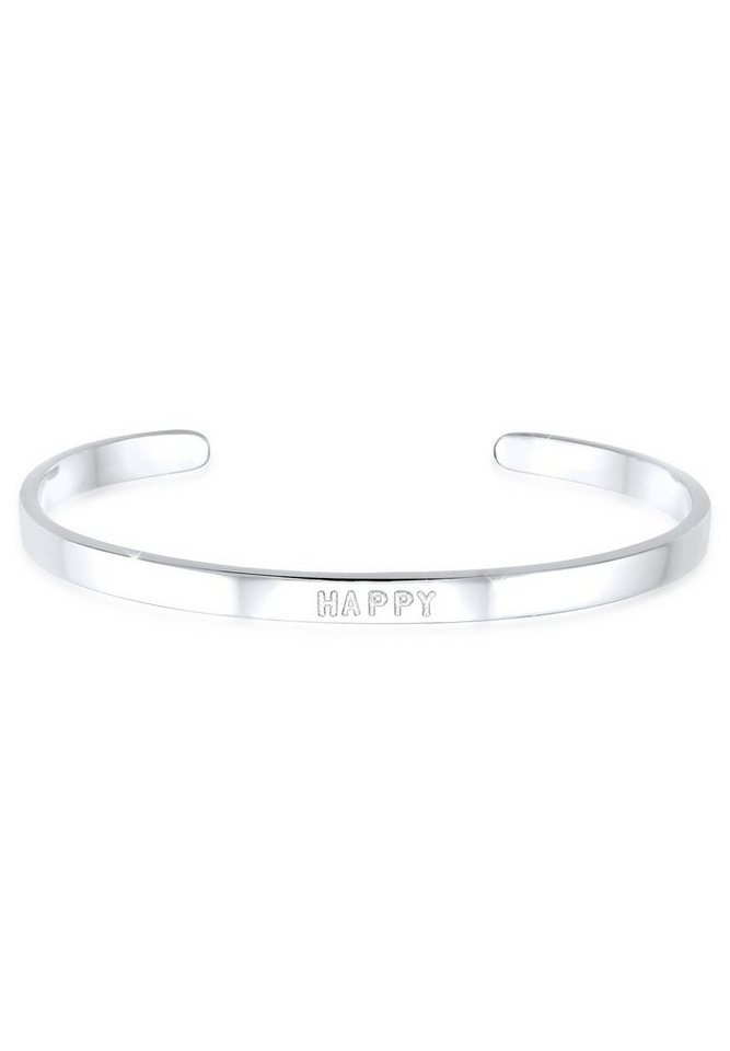 Elli Armreif »HAPPY Wording Schriftzug Trend 925 Sterling Silber«   Schmuck > Armbänder > Armreifen   Elli