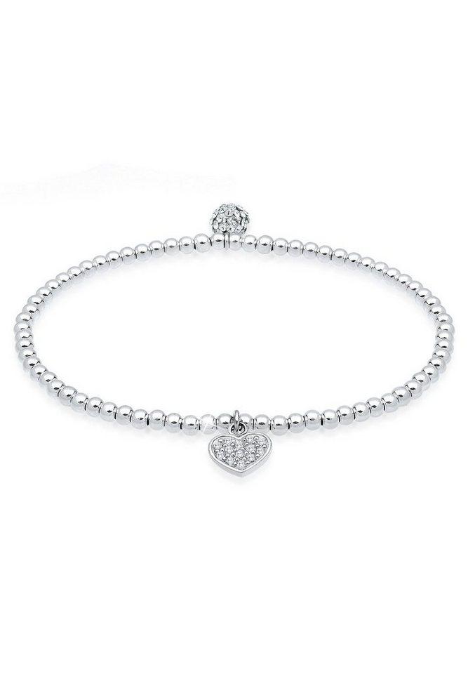 Elli Armband »Herz Symbol Swarovski® Kristalle 925 Silber« | Schmuck > Armbänder > Silberarmbänder | Weiß | Elli