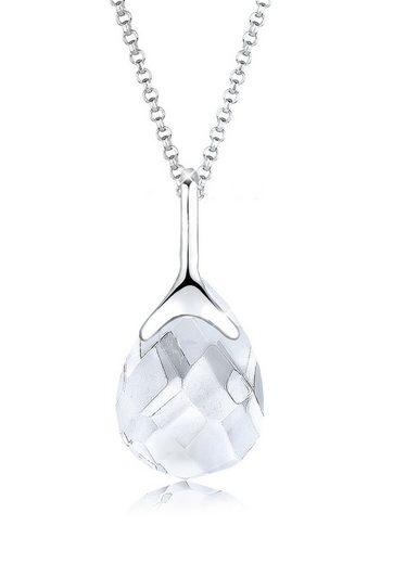 Elli Kette mit Anhänger »Bergkristall Tropfen Klassisch 925 Silber«