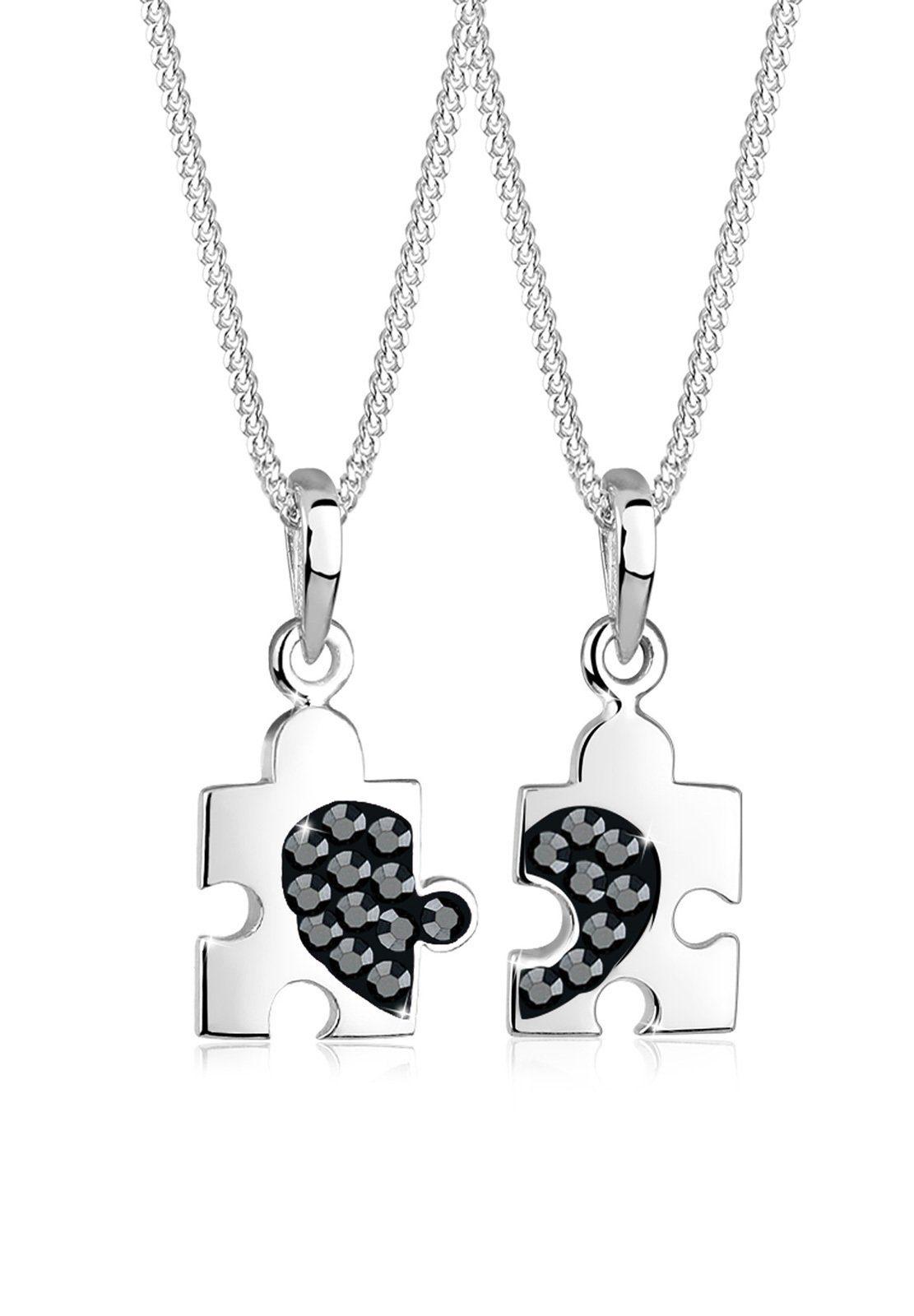 Elli Ketten-Set »Set: Set Partner Puzzle Swarovski® Kristalle 925 Silber« (Set, 2 tlg)